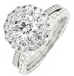 Double Halo Round Engagement Ring