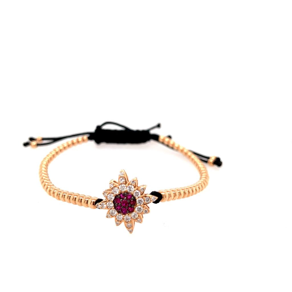 18K Rose Gold Diamond and Ruby Beaded Bracelet