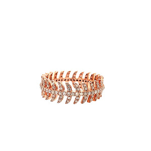 14K Diamond Feather Eternity Band