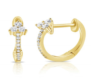14K Diamond  Three Stone Huggies