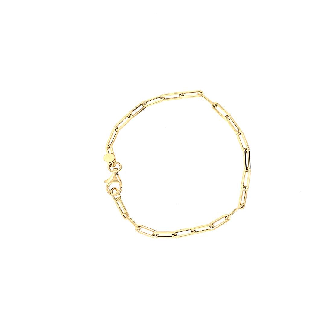 14K Rectangle Link Bracelet