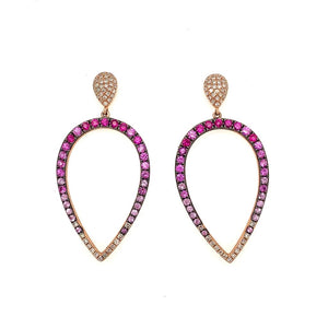 14K Rose Gold Multi Sapphire and Diamond Earrings