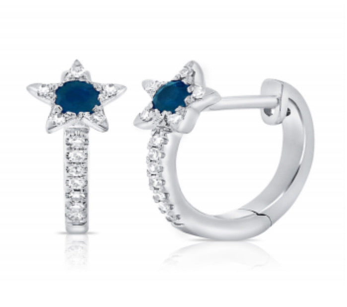 14K Sapphire and Diamond Star Huggies