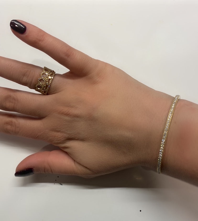 14K Diamond Full Diamond Bangle