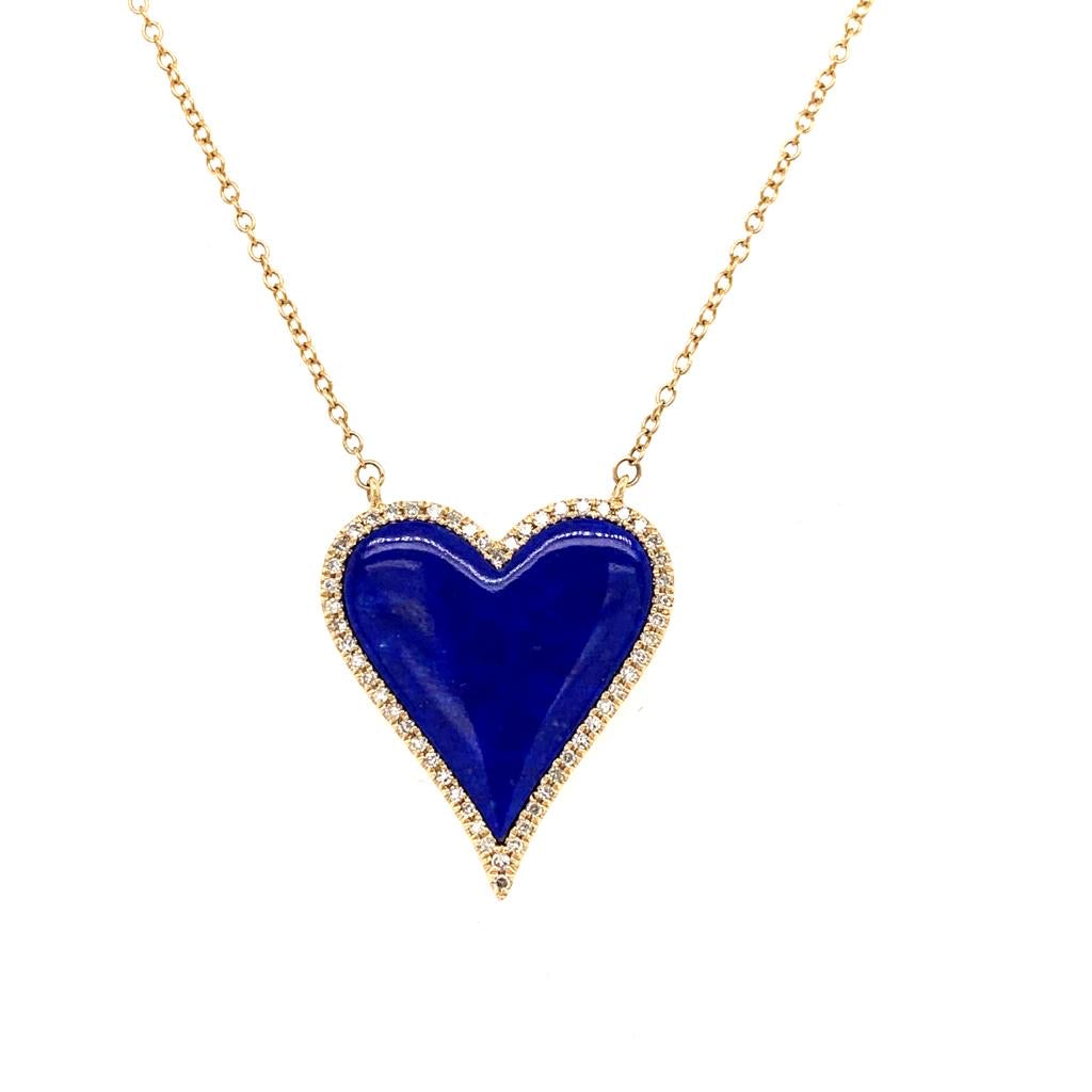 14K Diamond Lapis Heart