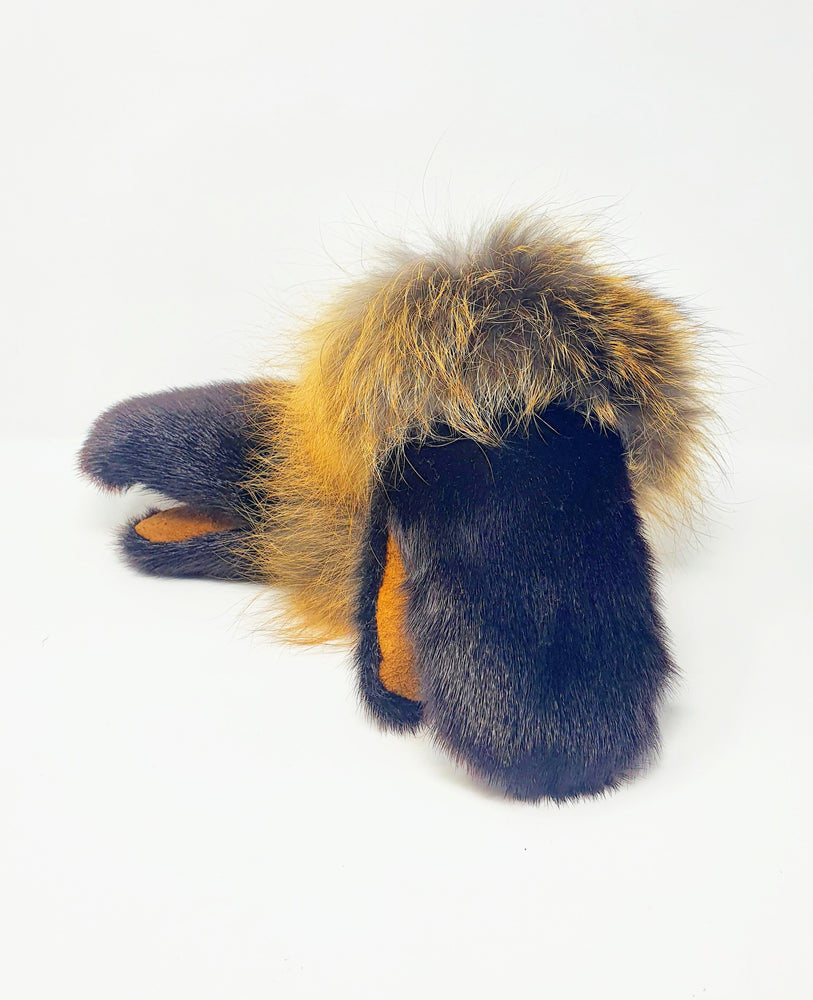 Espresso Seal Skin Mitts with Wolf Trim by Doris T. Enzoe