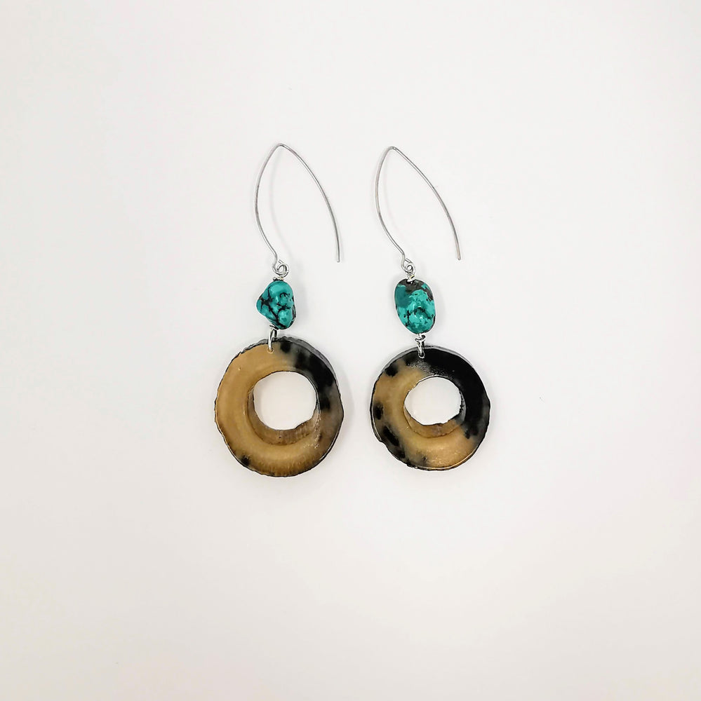 Muskox Horn and Turquoise Earrings by Gloria Enzoe