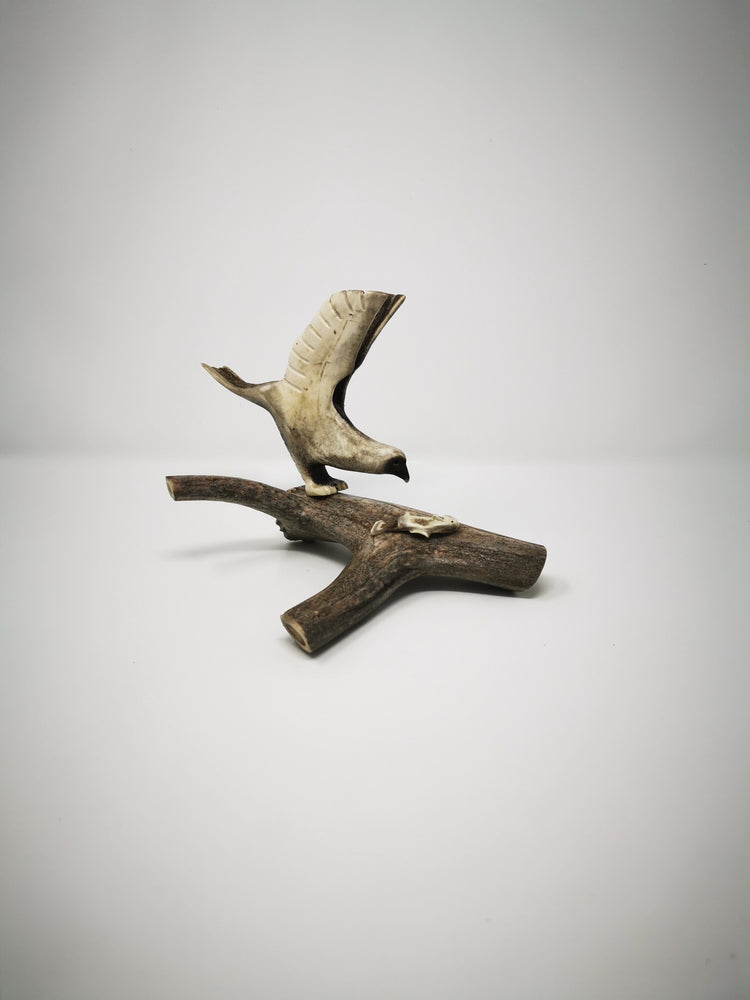 "Caribou Antler Carving ""Eagle and Fish"" by Ronald Enzoe"