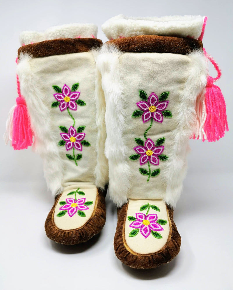 Beaded Mukluks on Moose Hide with Rabbit Fur by Celine Marlowe