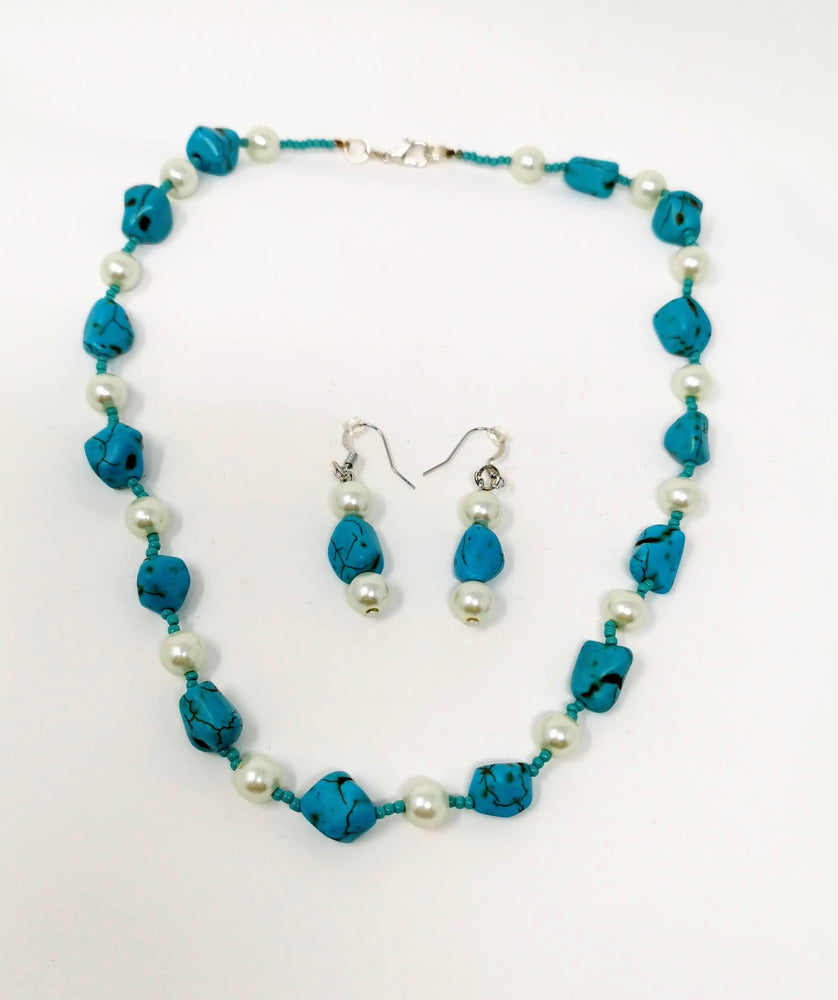 Turquoise and Pearl Necklace and Earring Set by Amanda Marlowe
