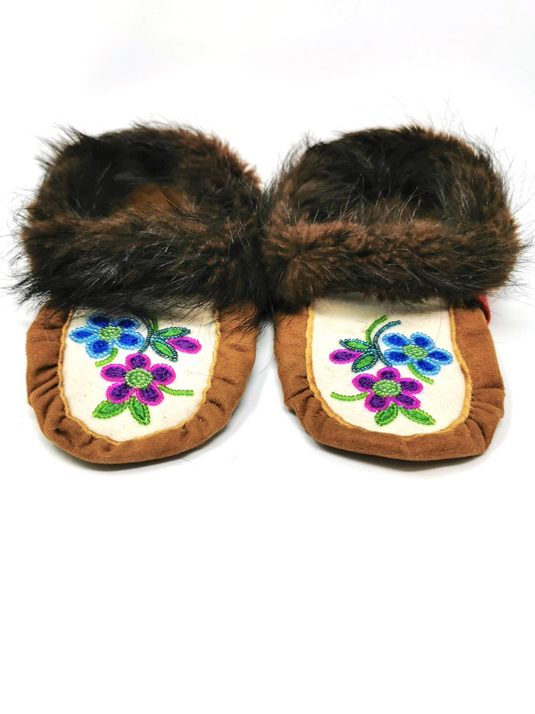 Children's Caribou Hide Moccasin's with Beaver Trim by Florence Catholique