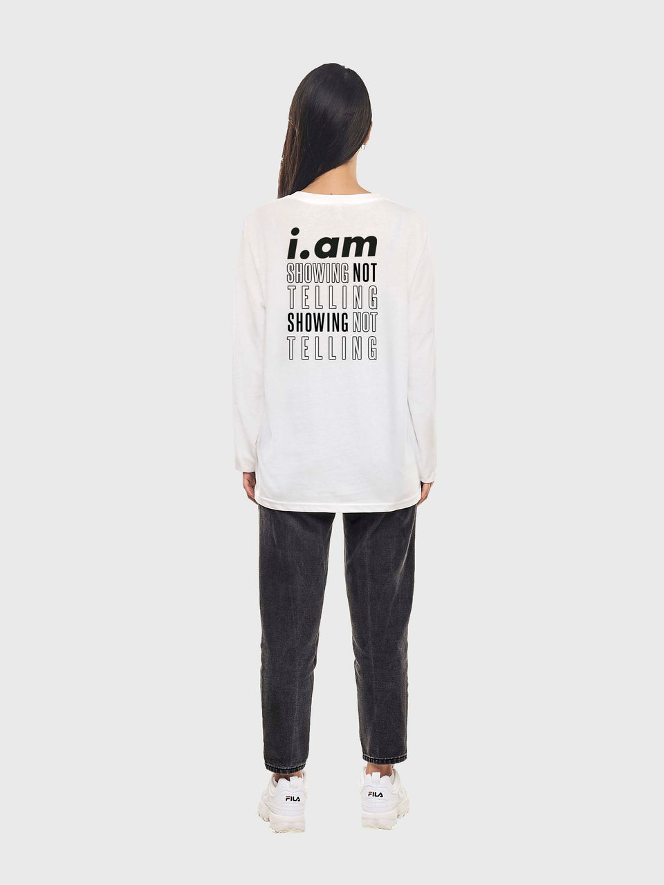 Showing not telling - White - Unisex long sleeve T