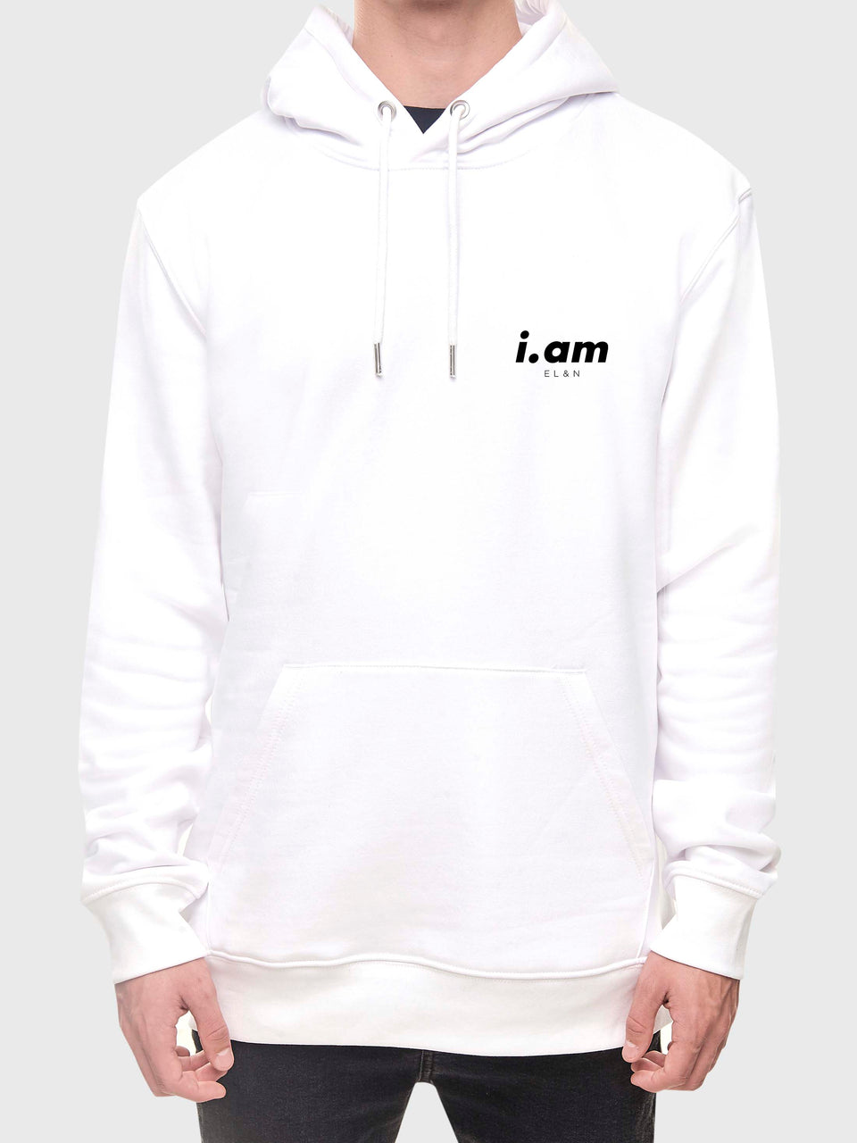 Showing not telling - White / Grey - Unisex pull over hoodie