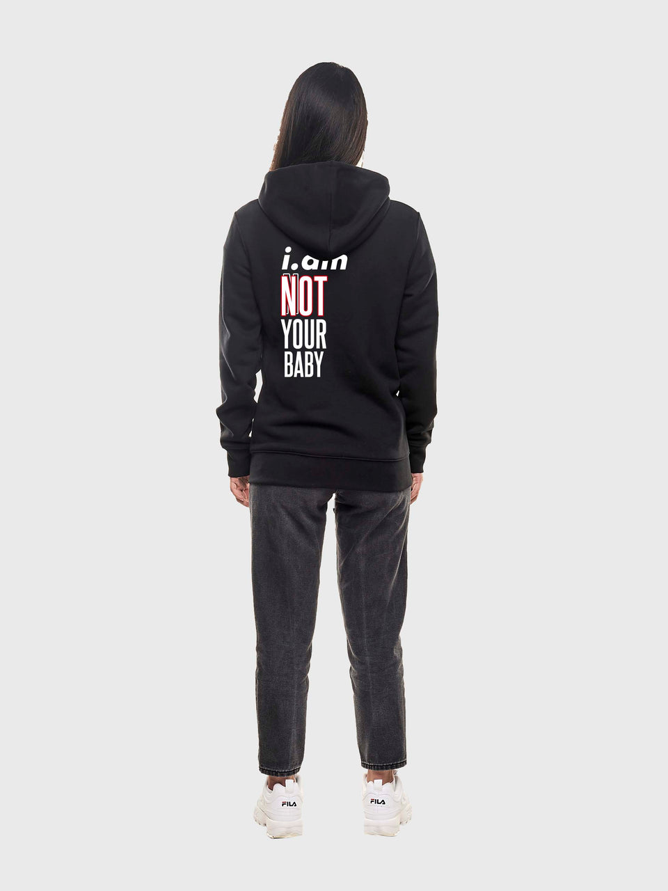 Not your baby - Black - unisex pull over hoodie