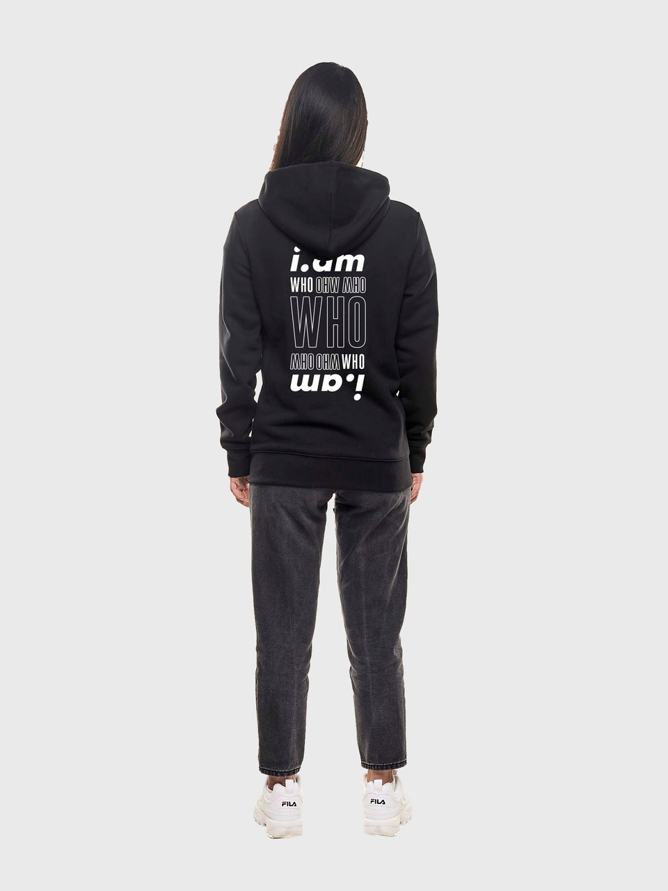 I am who I am - Black - Unisex pull over hoodie