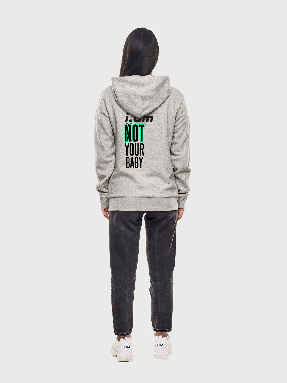 Not your baby - Grey - unisex pull over hoodie