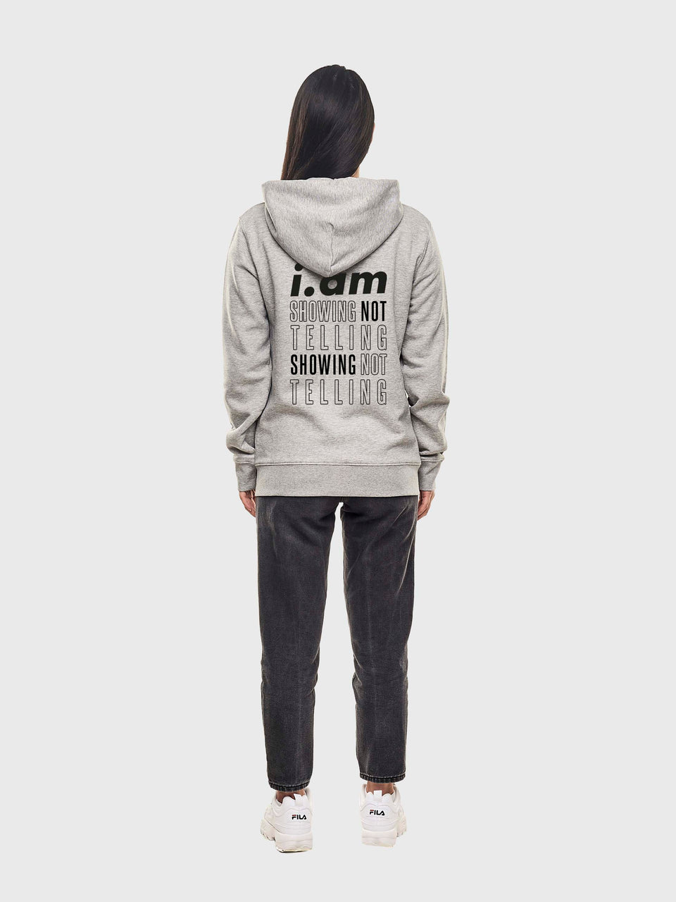 Showing not telling - Grey - Unisex zip up hoodie