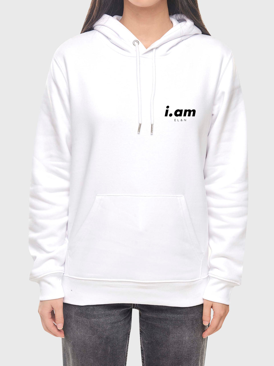 I am who I am - White - unisex pull over hoodie