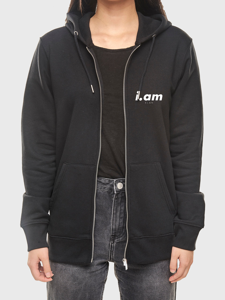 Not a copy - Black - Unisex zip up hoodie