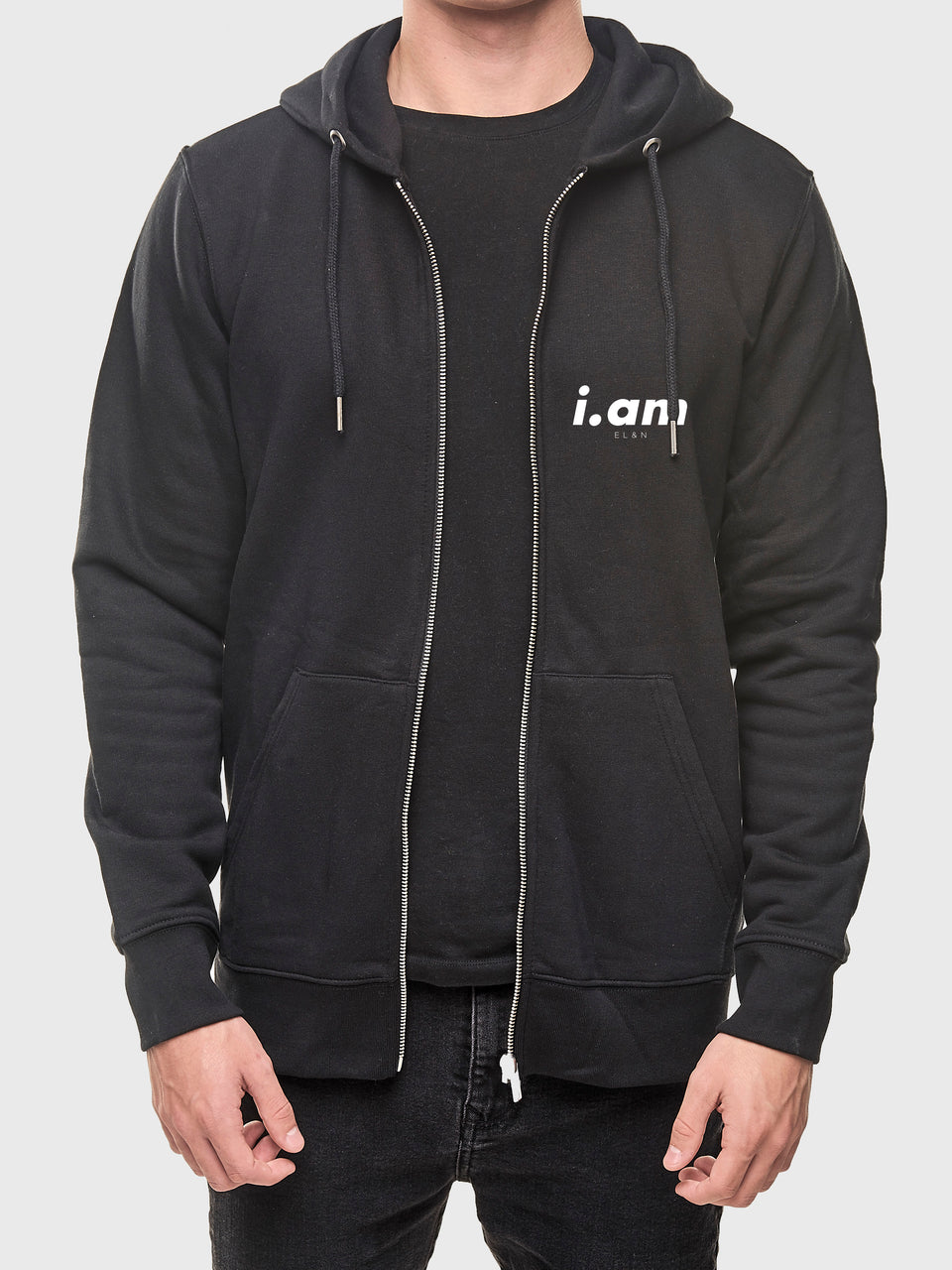 Made in London - Black - unisex zip up hoodie