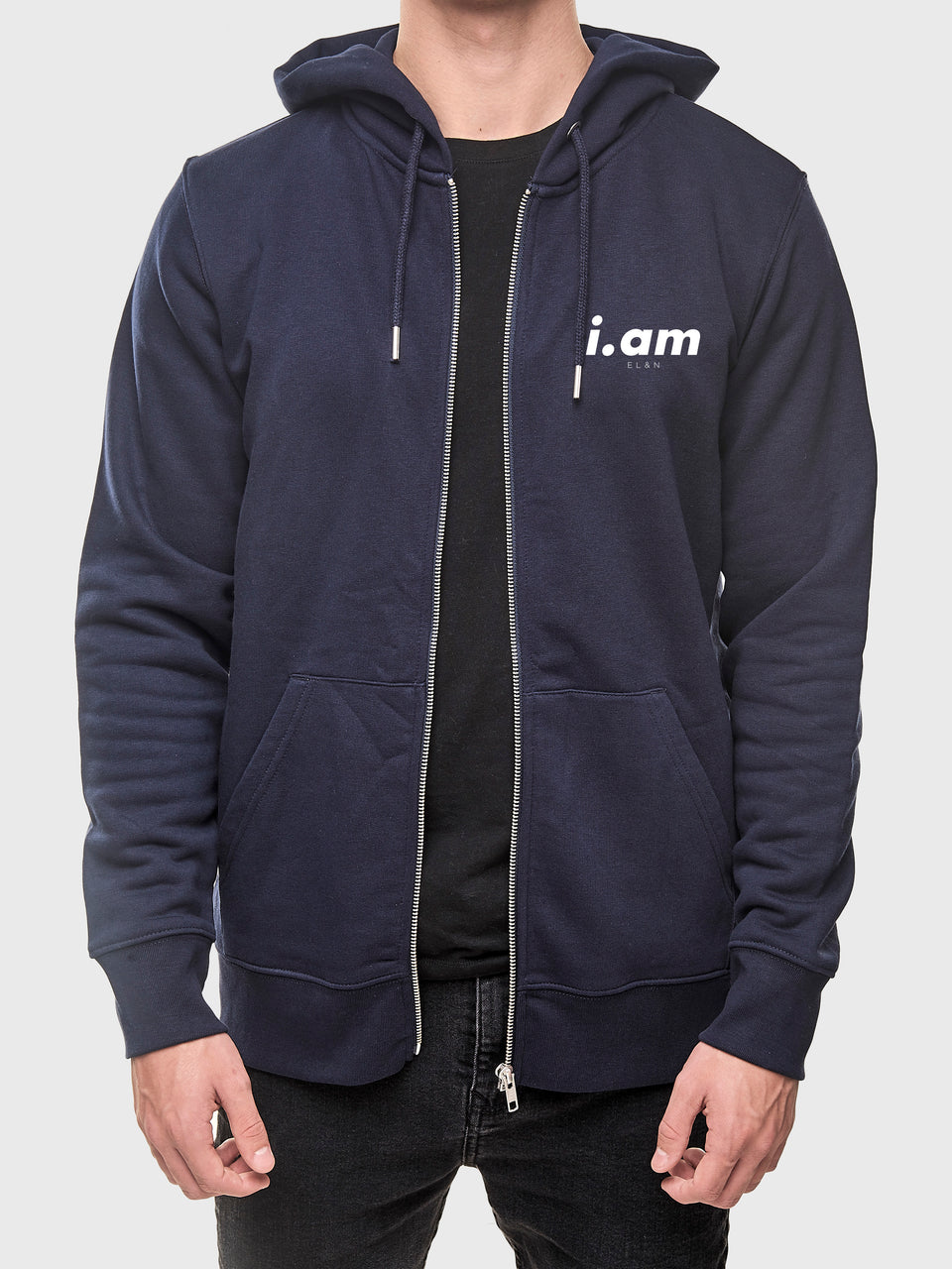 I am who I am - Navy - Unisex zip up hoodie
