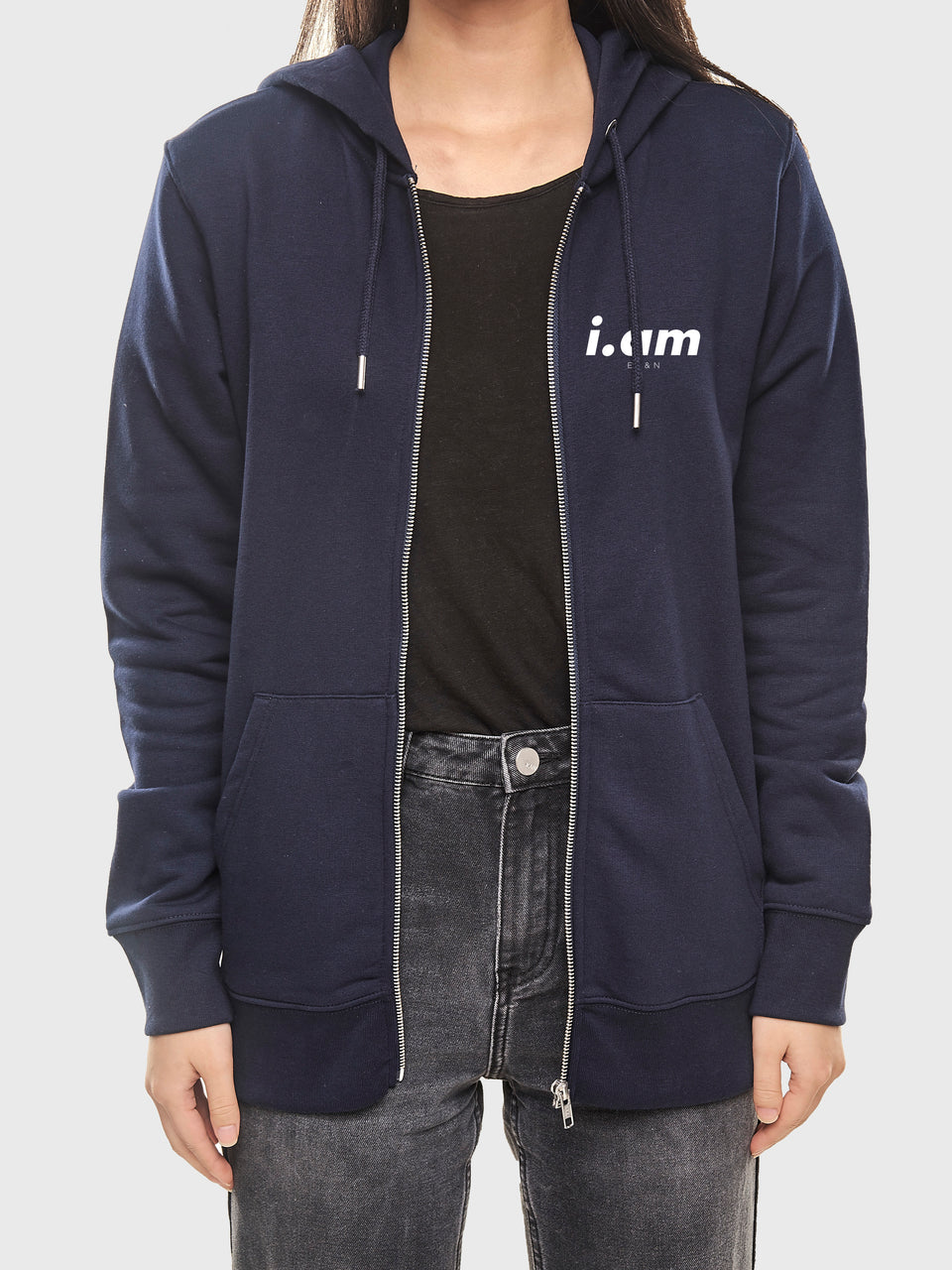 Made in London - Navy - Unisex zip up hoodie