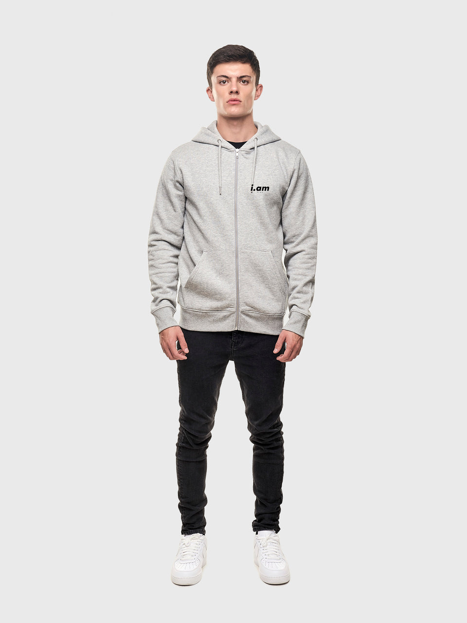Iam who I am - Grey - Unisex zip up hoodie