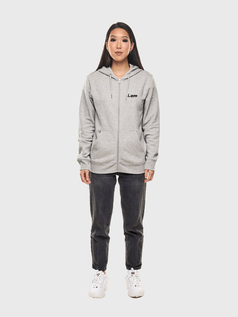 Power - Grey - Unisex zip up hoodie