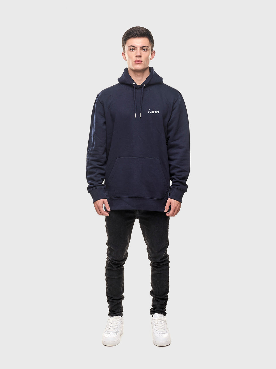 I am who I am - Navy - Unisex pull over hoodie