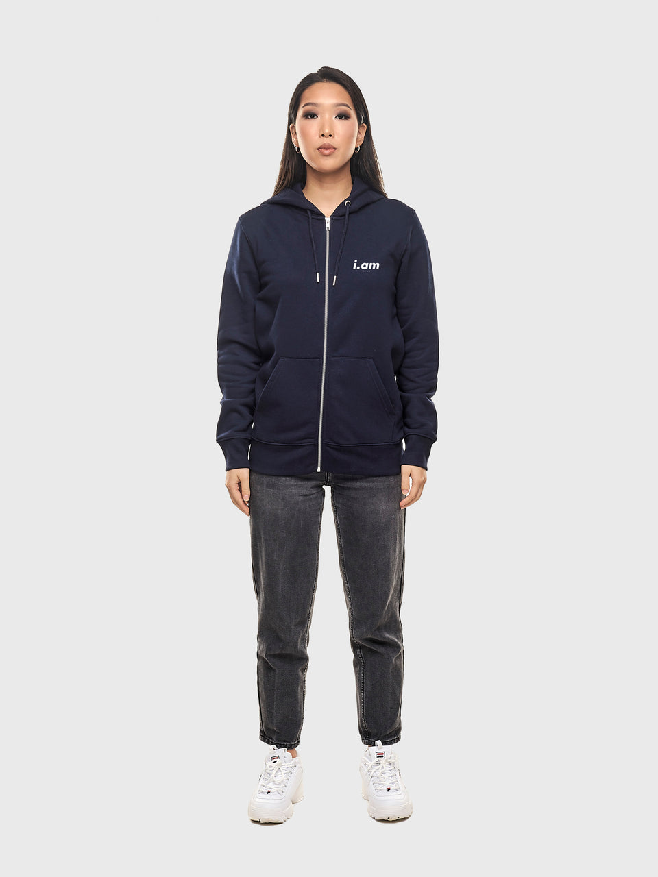 Good story - Navy - Unisex zip up hoodie