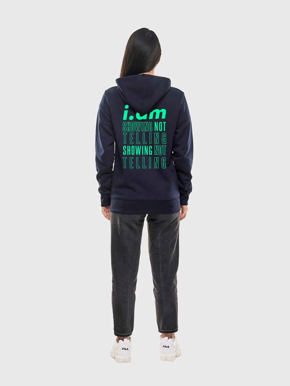 Showing not telling - Navy - Unisex pull over hoodie