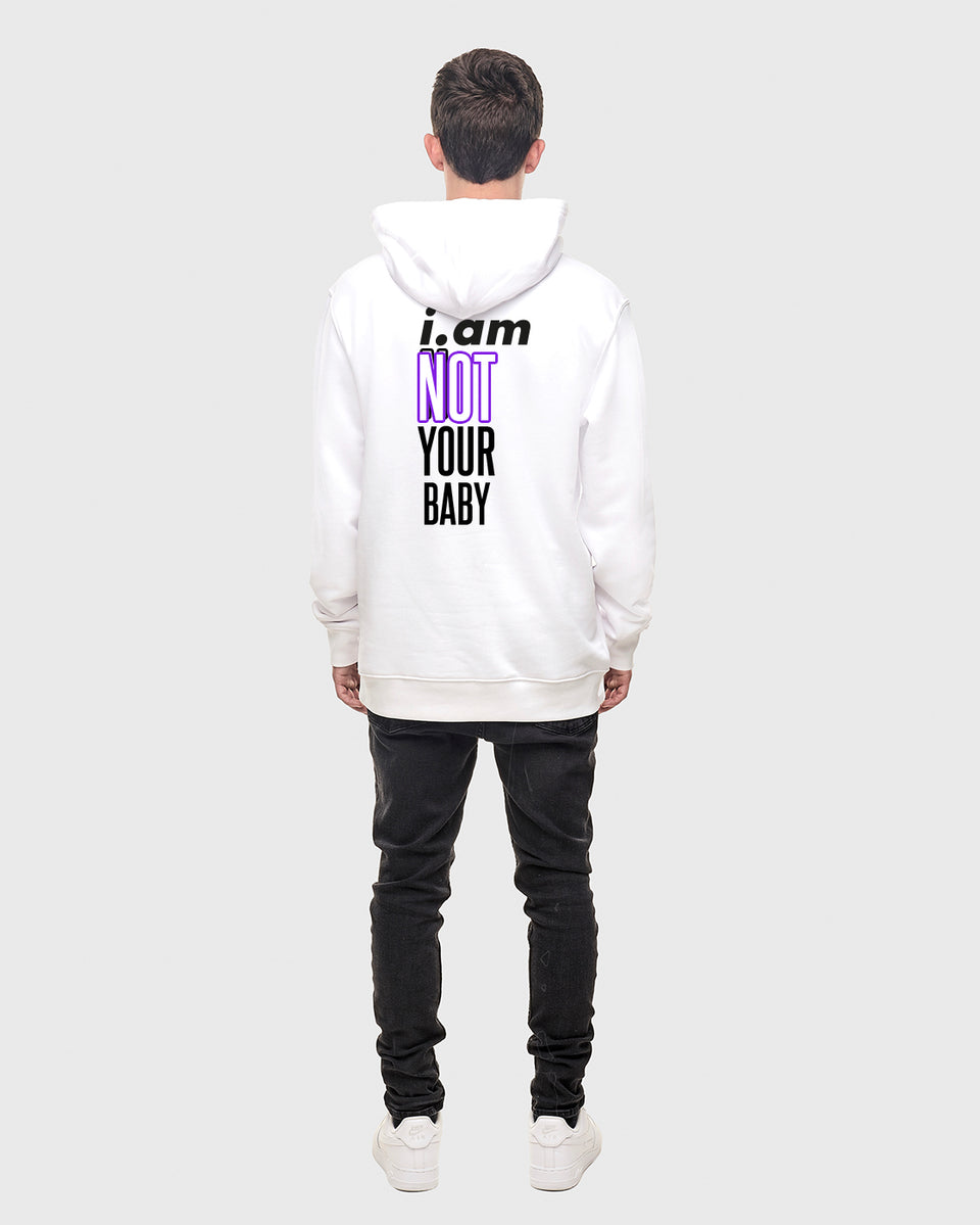Not your baby - White - Unisex pull over hoodie
