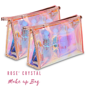 Rose' Crystal 10 PC Brush Set + Crystal Collection Makeup Bag