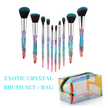 Exotic Crystal 10 PC Brush Set + Crystal Collection Makeup Bag