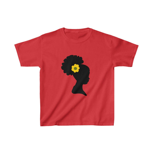 Afro Puff Girl with Sunflower Shirt, Brown Skin Girl T shirt - Coils and Glory Shop