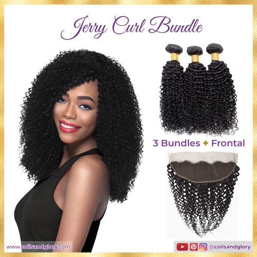 Peruvian jerry curl bundle with frontal