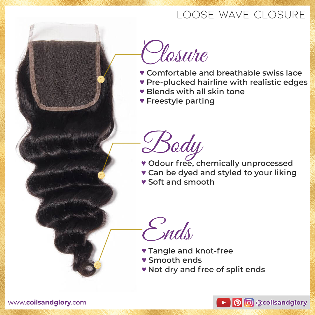 loose wave hair closure