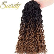 "Saisity wavy faux locs crochet hair deep faux locs crochet braids synthetic crochet goddess locs curly jumbo hair extentions 16"" - Coils and Glory Shop"