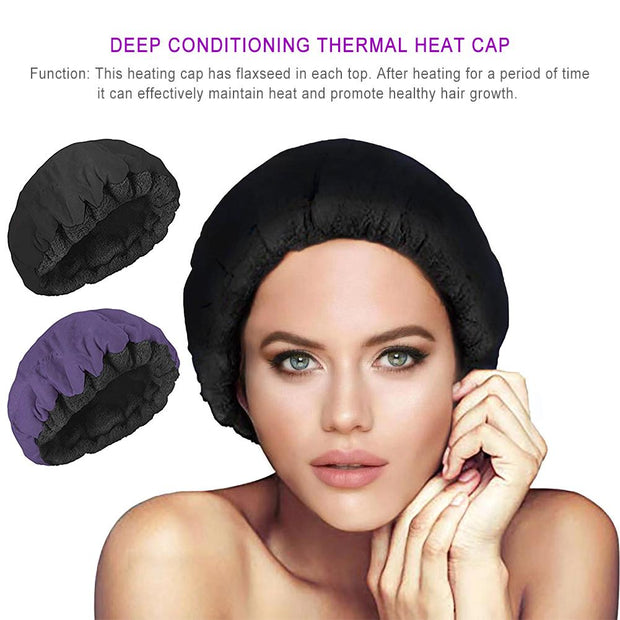 Hair Care Heating Hat Deep Conditioning Heat Cap Microwavable Heat Cap Steaming Microfiber Cotton Reversible Flaxseed Interior - Coils and Glory Shop
