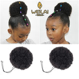 WEILAI Africa Children Boys Girls Curly Scrunchie Chignon With Rubber Band Synthetic Buns for Black Hair Ring Wrap Ponytails