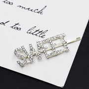1PC Rhinestone Hair Pins Sweet Woman Crystal Word Hair Clips Letter Bling Hair Pins Lady Classics Barrette Custom Hair Pin - Coils and Glory Shop