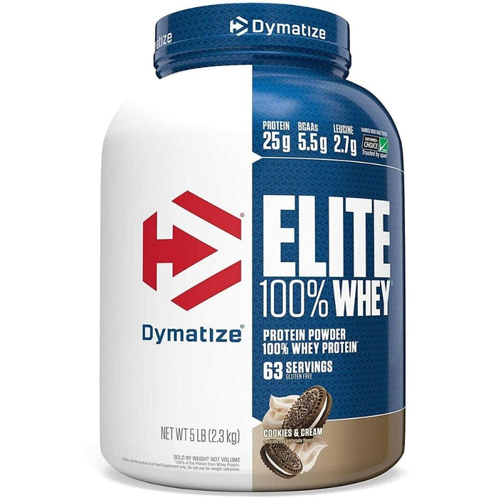 Dymatize Elite 100% Whey Protein - Cookies and Cream 5 lbs.