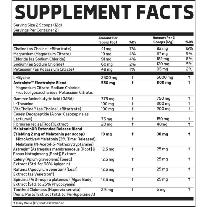 Glaxon Tranquility Supplement Facts