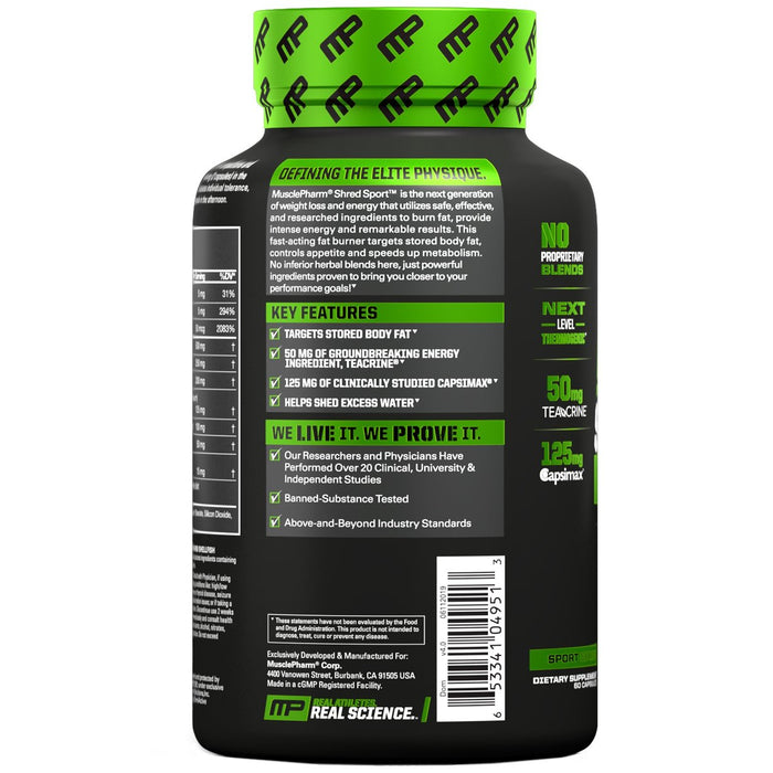 MusclePharm Shred Sport Fat Burner Features