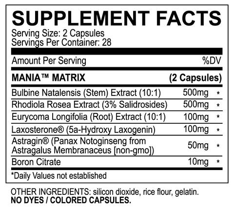 MyoBlox Mania Supplement Facts