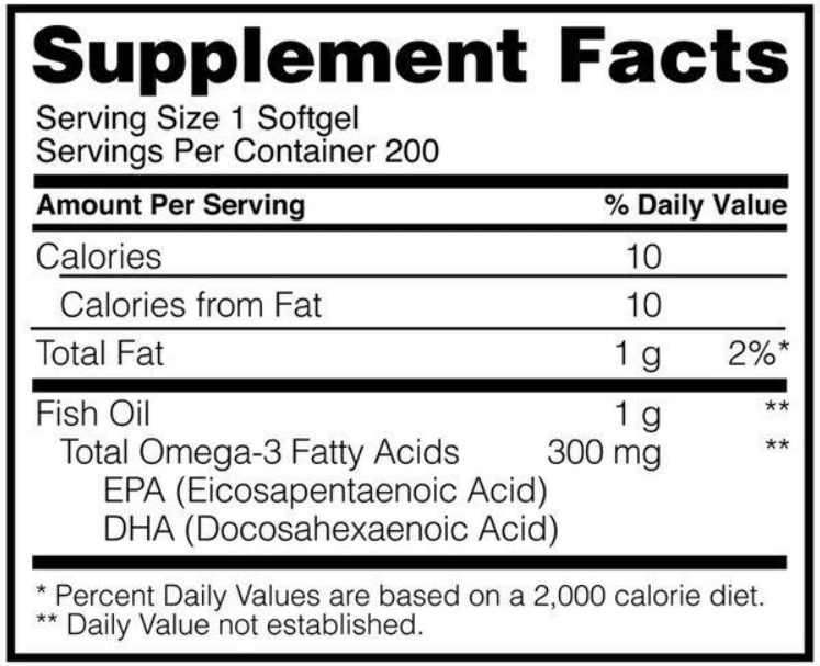Optimum Nutrition Omega 3 Fish Oil, Supplement Facts