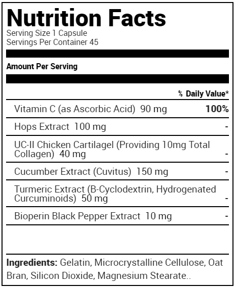 Optimum Nutrition Fit 40 Collagen, Vitamin C & Turmeric - Supplement Facts