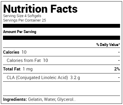 Purus Labs CLA Conjugated Linoleic Acid Supplement Facts