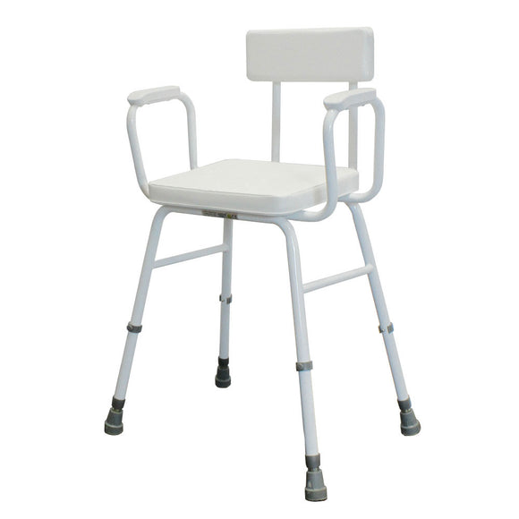 Malvern Vinyl Seat Perching Stool (with Moulded Arms + Padded Back)