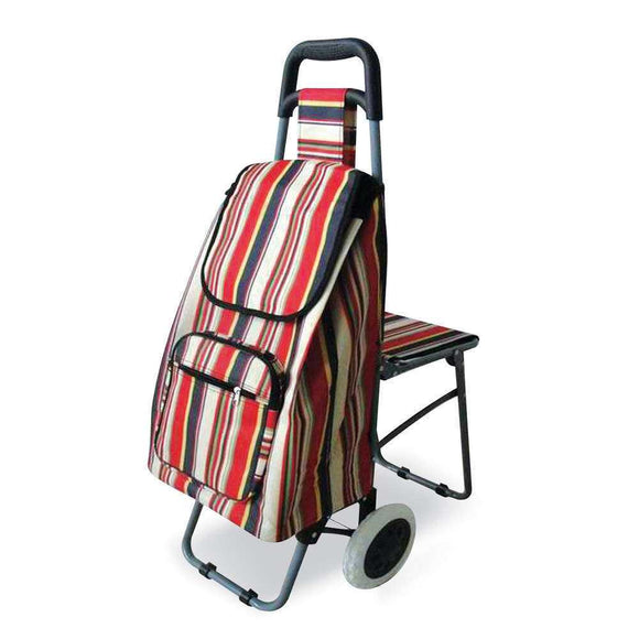 Single Wheeled Leisure Shopping Trolley With Fold Down Seat